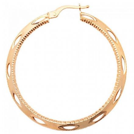 Just Gold Earrings -9Ct Dia Cut Hoop Earrings, ER658